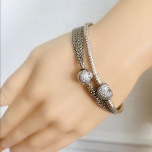 Pandora Bundle 2 Heart Sterling Silver Bracelets